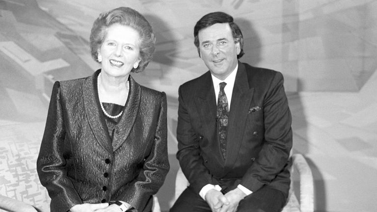 Prime Minister Margaret Thatcher with BBC chat show host Terry Wogan, after a frank interview in which she spurned the idea of retirement, saying that she was 'full of beans'.
