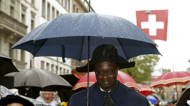Tidjane Thiam marches in a parade to mark the start of spring in Zurich