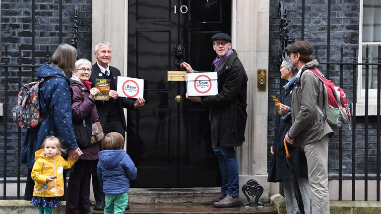 Tom Holland went to Downing Street to post the petition against the road expansion