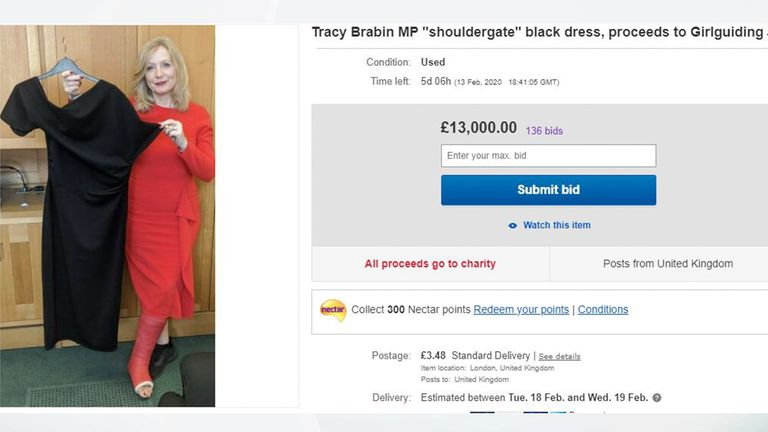Bids for the dress reached £12,800 on Saturday morning
