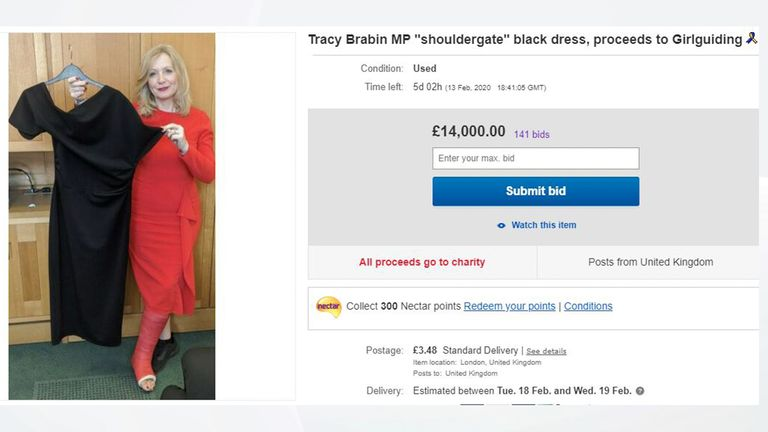 Bids for the dress reached £14,000 by Saturday afternoon