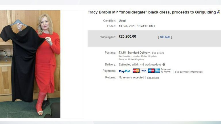 Tracy's off-the-shoulder dress sold for £20,200 on eBay