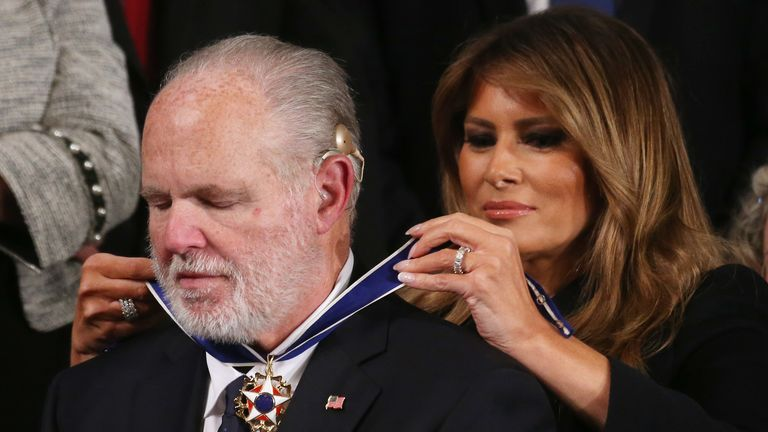 Radio personality Rush Limbaugh reacts as First Lady Melania Trump gives him the Presidential Medal of Freedom during the State of the Union address