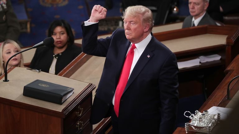 President Donald Trump prepares to deliver his State of the Union address