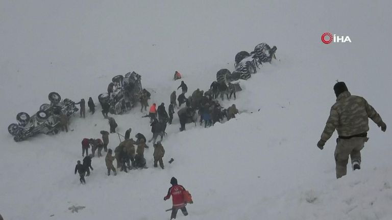 The avalanche stuck near the mountain-surrounded town of Bahcesehir in Van province