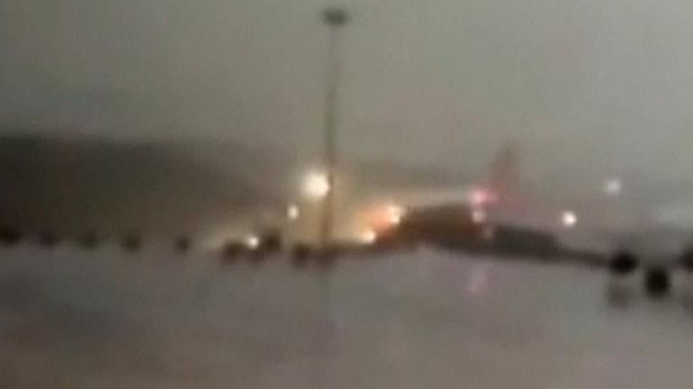 Plane skids off runway in Istanbul