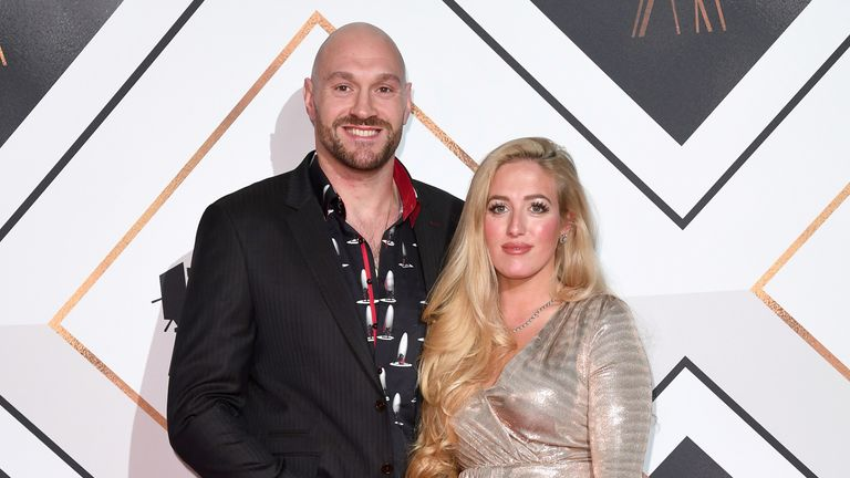 Tyson Fury and wife attends the Sports Personality of the Year Awards 2018 at the Vox Conference Centre, Resorts World, Birmingham..16/12/2018.Credit Photo ..Karwai Tang.For more information, please contact:.Karwai Tang 07950 192531.karwai@karwaitang.com.