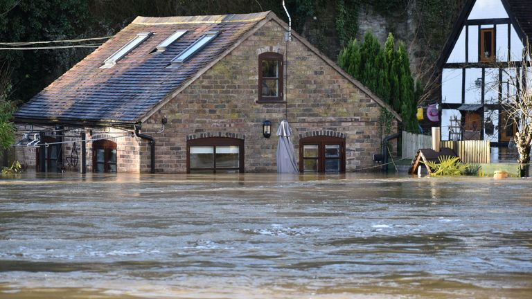 A flood-hit property at Ironbridge in Shropshire