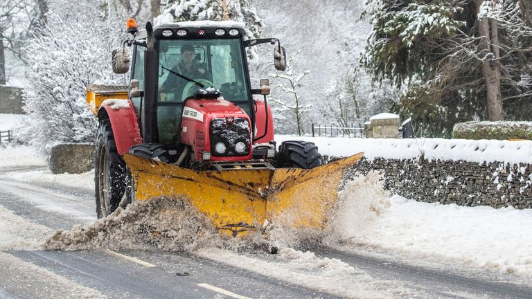Snow is cleared near Leyburn in the Yorkshire Dales