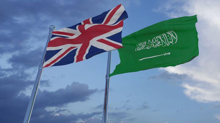 UK and Saudi Arabia flags