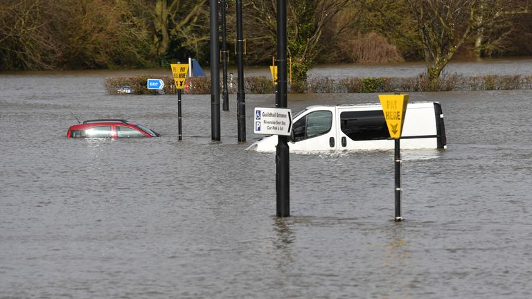 A car was almost completely by floodwaters in Shrewsbury