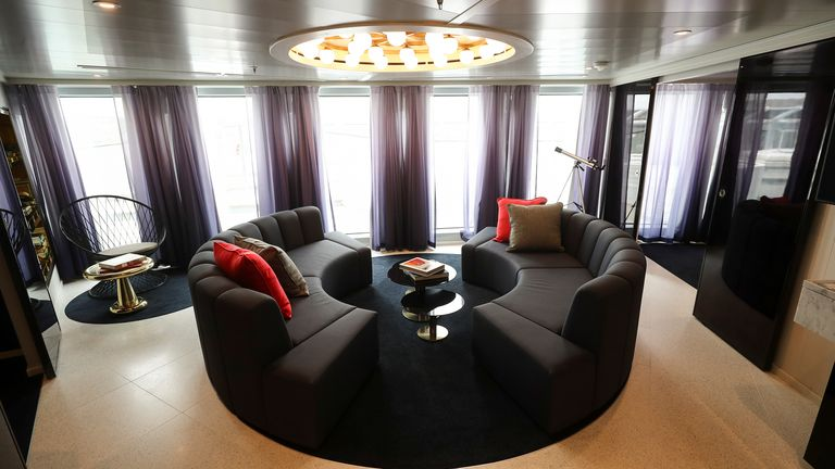 The Mega Rockstar suite is seen on the Virgin Voyages Scarlet Lady cruise liner
