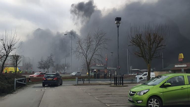 Handout photo taken with permission from the twitter feed of @TQSecurity of a large fire that has broken out at Westgate Retail Park in Wakefield. PA Photo. Issue date: Saturday February 1, 2020. See PA story FIRE Wakefield. Photo credit should read: @TQSecurity/PA Wire NOTE TO EDITORS: This handout photo may only be used in for editorial reporting purposes for the contemporaneous illustration of events, things or the people in the image or facts mentioned in the caption. Reuse of the picture ma