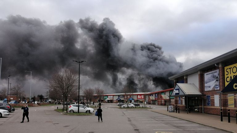 Handout photo taken with permission from the twitter feed of @YorkshireDaveUK of a large fire that has broken out at Westgate Retail Park in Wakefield. PA Photo. Issue date: Saturday February 1, 2020. See PA story FIRE Wakefield. Photo credit should read: @YorkshireDaveUK/PA Wire NOTE TO EDITORS: This handout photo may only be used in for editorial reporting purposes for the contemporaneous illustration of events, things or the people in the image or facts mentioned in the caption. Reuse of the
