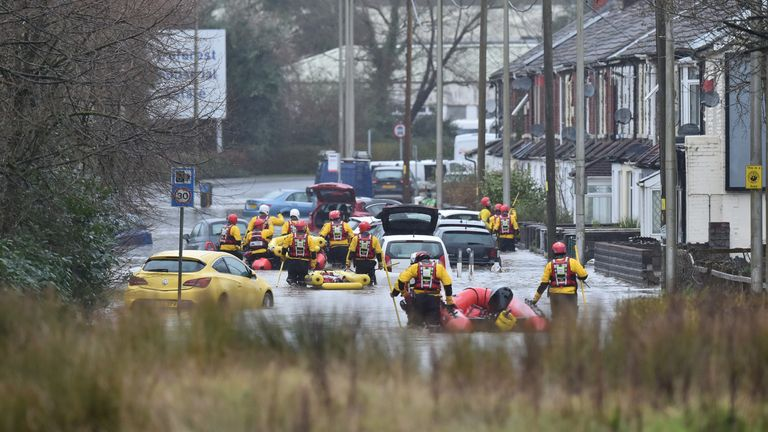 Rescue operations continue as emergency services take residents of Oxford Street, Nantgarw