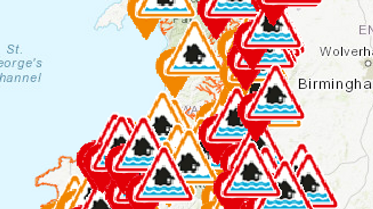Flood warnings across Wales. Pic: Natural Resources Wales