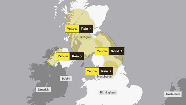 Yellow rain and wind alerts for Friday