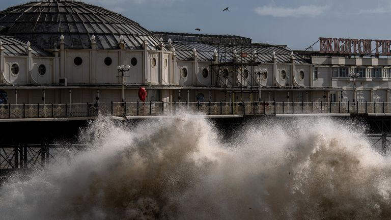 High winds caused by Storm Ciara saw large waves crash on the beach in Brighton