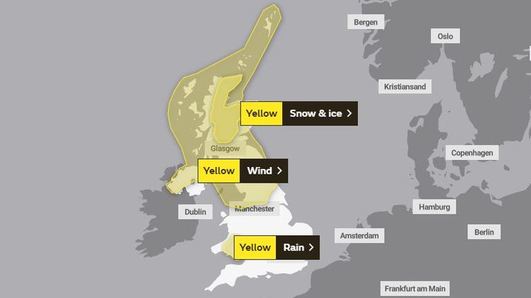 The Met Office warning for Saturday