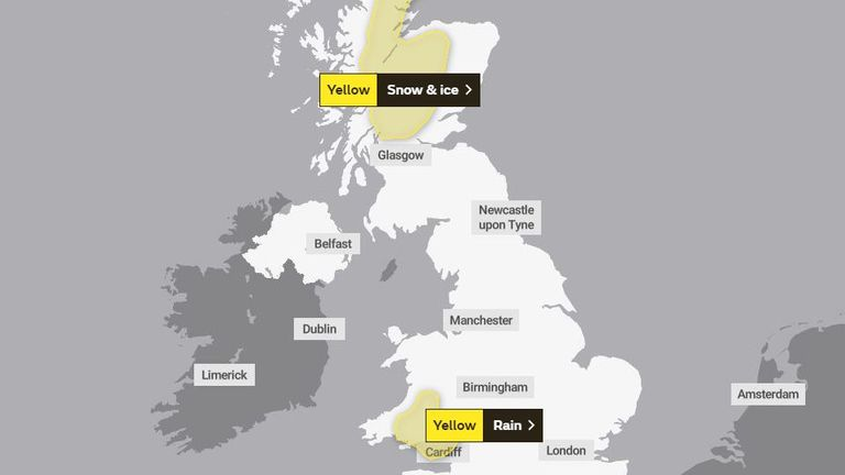 The Met Office weather warning for Sunday