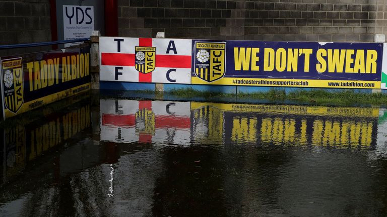Tadcaster Albion's Global stadium football ground has been flooded