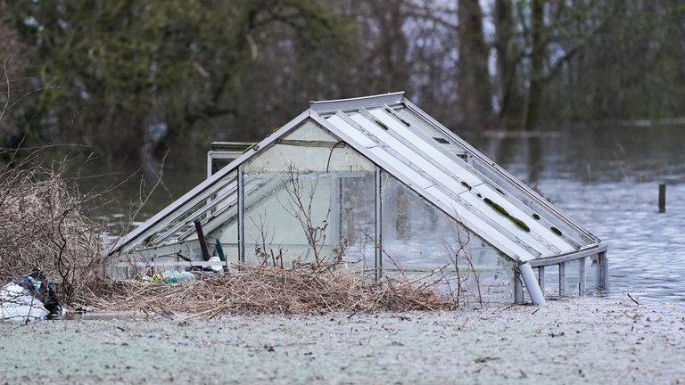 A greenhouse is submerged in floods in Snaith