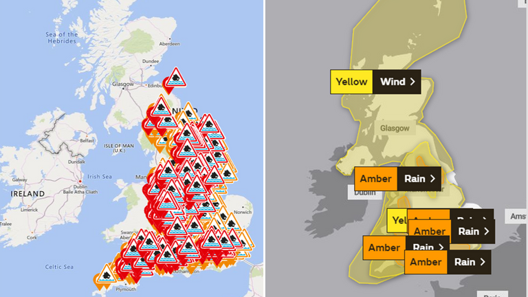 Hundreds of weather warnings are in place across the UK
