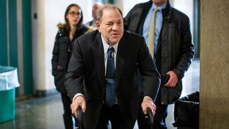Former film producer Harvey Weinstein arriving at court on Monday
