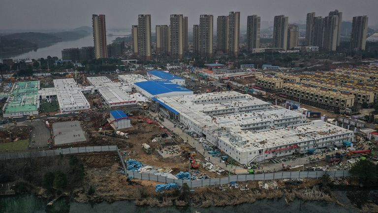 WUHAN, CHINA - FEBRUARY 02: (CHINA OUT) Huoshenshan Hospital construction nears completion on February 2, 2020 in Wuhan, China. The 25,000 square metre emergency specialty field hospital, with a capacity of 1000 beds, is being built to treat patients from the deadly coronavirus outbreak in Wuhan. (Photo by Stringer/Getty Images)