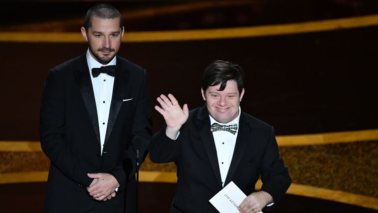Zack Gottsagen made history as the first person with Down's syndrome to present an Oscar