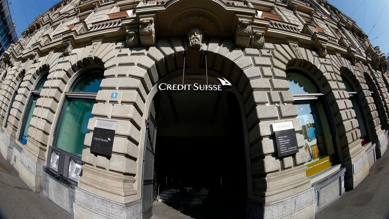the headquarters of Swiss bank Credit Suisse