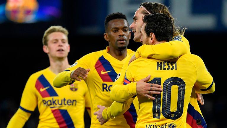 Antoine Griezmann celebrates scoring against Napoli