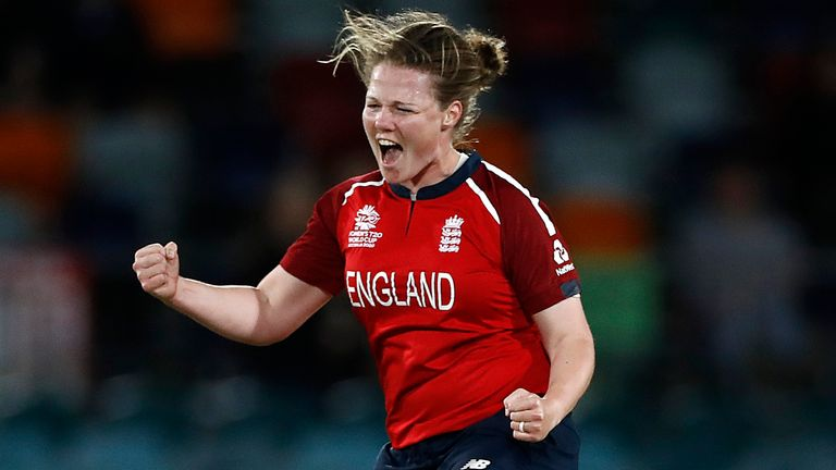 CANBERRA, AUSTRALIA - FEBRUARY 28: Anya Shrubsole of England celebrates after taking the wicket of Muneeba Ali of Pakistan during the ICC Women's T20 Cricket World Cup match between England and Pakistan at Manuka Oval on February 28, 2020 in Canberra, Australia. (