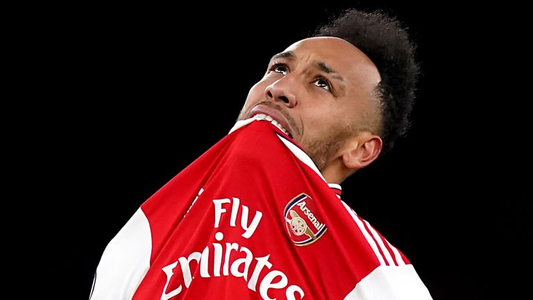 Pierre-Emerick Aubameyang shows his frustration