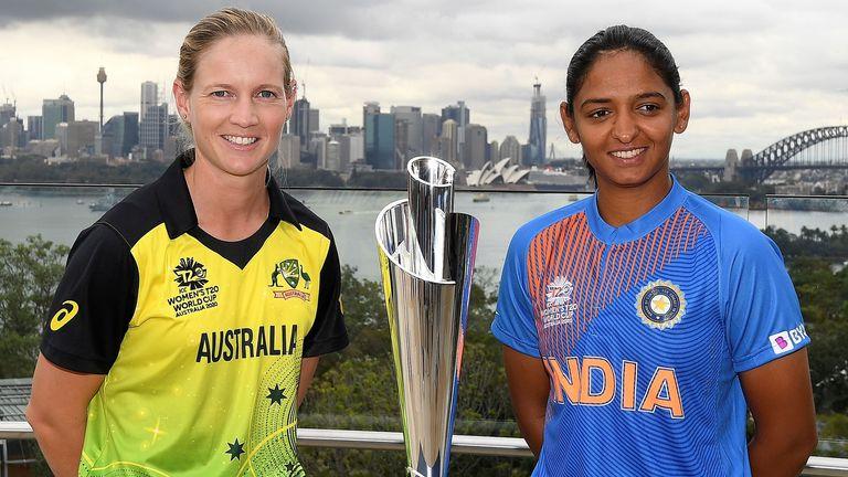 Australia captain Meg Lanning and India captain Harmanpreet Kaur pose with ICC Women's T20 World Cup trophy
