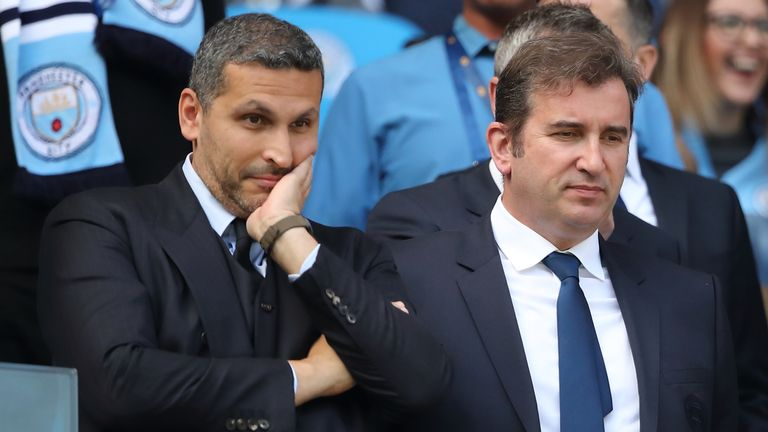 Manchester City chief executive Ferran Soriano (right) with chairman Khaldoon Al Mubarak