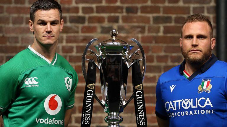 Ireland's Jonathan Sexton and Italy's Luca Bigi