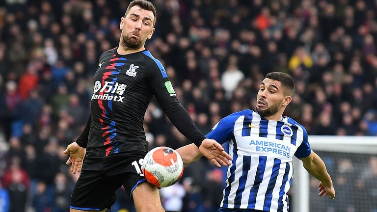 James McArthur and Neal Maupay in action at the Amex Stadium