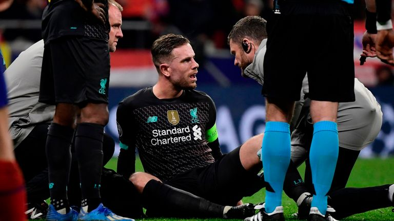 Liverpool's Jordan Henderson out for around three weeks with injury