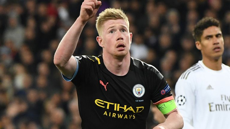 Man City's Kevin De Bruyne celebrates converting his penalty against Real Madrid