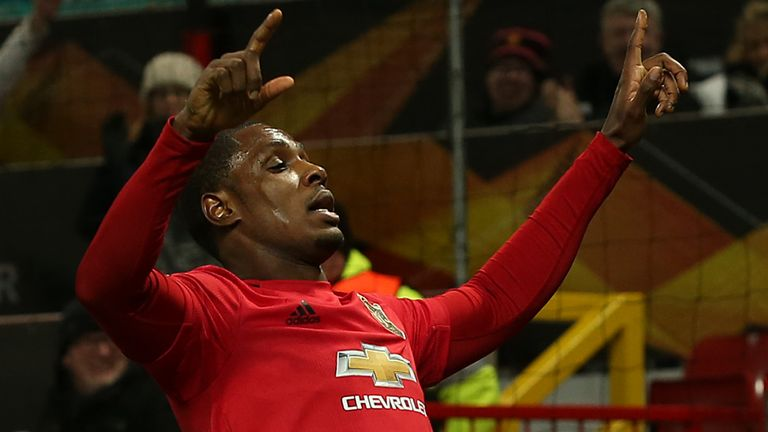 Odion Ighalo celebrates scoring Manchester United's second goal against Club Brugge