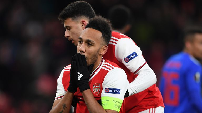 Pierre-Emerick Aubameyang reacts after missing a chance against Olympiakos