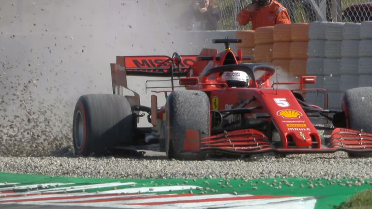 Sebastian Vettel managed to extract his Ferrari from the gravel during testing in Barcelona after going for spin on day two