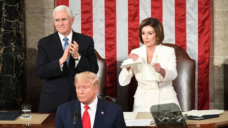 Pelosi rips up Trump's speech in response to divisive State of the Union address