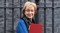 Business Secretary Andrea Leadsom leaves Downing Street after a National Security Council meeting.