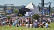 GLASTONBURY, ENGLAND - JUNE 28:  A general view of the Pyramid stage during day three of Glastonbury Festival at Worthy Farm, Pilton on June 28, 2019 in Glastonbury, England. The festival, founded by farmer Michael Eavis in 1970, is the largest greenfield music and performing arts festival in the world. Tickets for the festival sold out in just 36 minutes as it returns following a fallow year. (Photo by Jim Dyson/Getty Images)