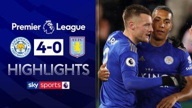 Vardy scores twice as Foxes thrash Villa