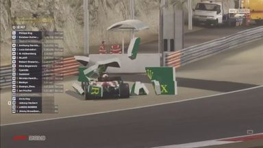 Johnny Herbert crashes into the wall