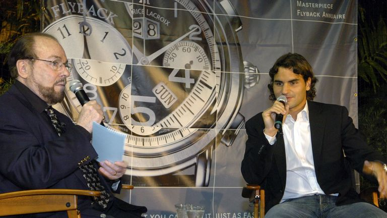 "Roger Federer, the world's #1 male ranked tennis player from Oberwil, Switzerland went one-on-one with James Lipton, host of ""Inside The Actors Studio"" at the Brickell Tennis Club in Miami, Florida on March 23, 2005. Federer, an ambassador of Maurice Lacroix Swiss Watches answered questions by Lipton then played some tennis with invited guests. (Photo by Bob Riha Jr/WireImage)"