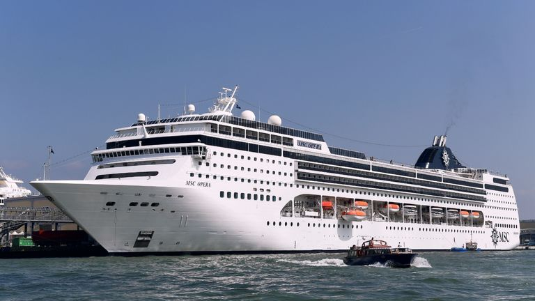 The MSC Opera cruise ship is docked in the port of Venice for reparation on June 8, 2019, few days after it lost control, crashing into a wharf and sparking a fresh controversy over the damage the mammoth vessels cause to one of the world's most famous cities. - Four tourists were slightly injured in the accident at San Basilio-Zattere in Venice's Giudecca Canal, port authorities said. The incident came just days after a river cruise ship collided with a sightseeing vessel in Budapest, killing seven people and leaving 21 missing. (Photo by Miguel MEDINA / AFP)        (Photo credit should read MIGUEL MEDINA/AFP via Getty Images)